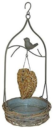 Wild Bird Seed Cake Feeder in Grey Wash Willow and Metal