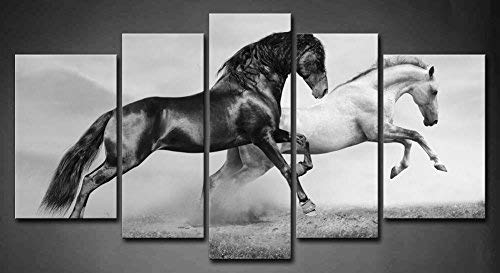 5 Panel Wall Art Black And White Horses Running On Grassland In Summer
