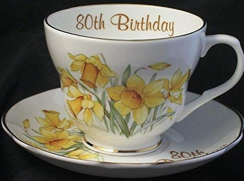 Lyndas Gifts 80th birthday gift cup and saucer