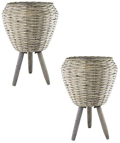 Muddy Hands Willow Plant Pot with Legs Drum Planter Stand