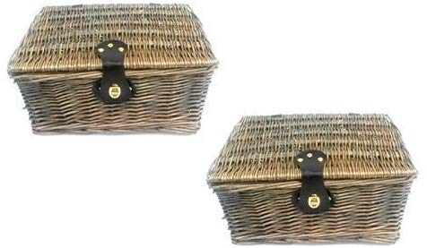 topfurnishing Traditional Wicker Willow Xmas Christmas Picnic Hamper Lidded Gift