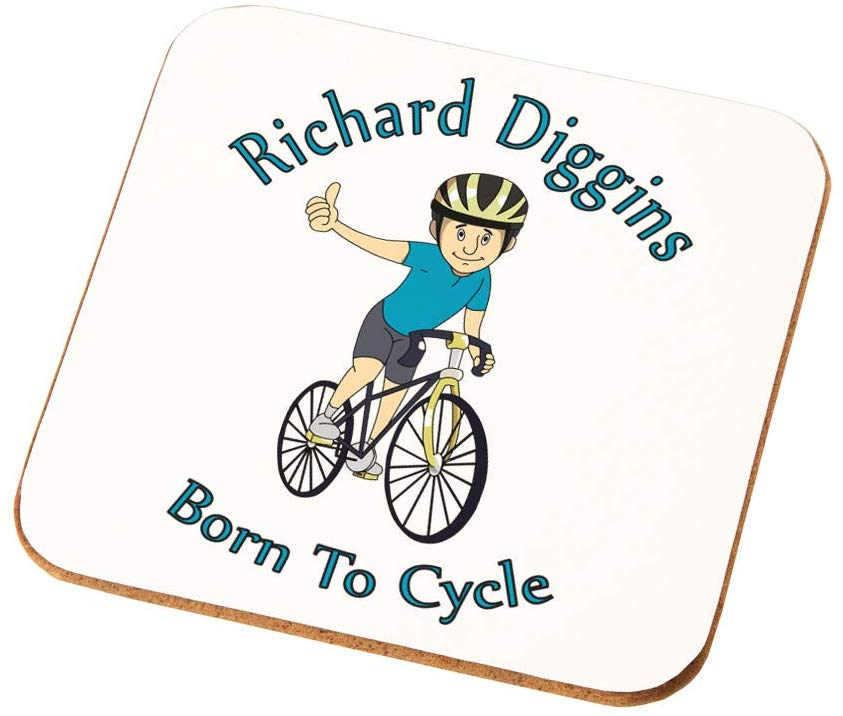 Personalised Mens Born to Cycle Coaster Gift