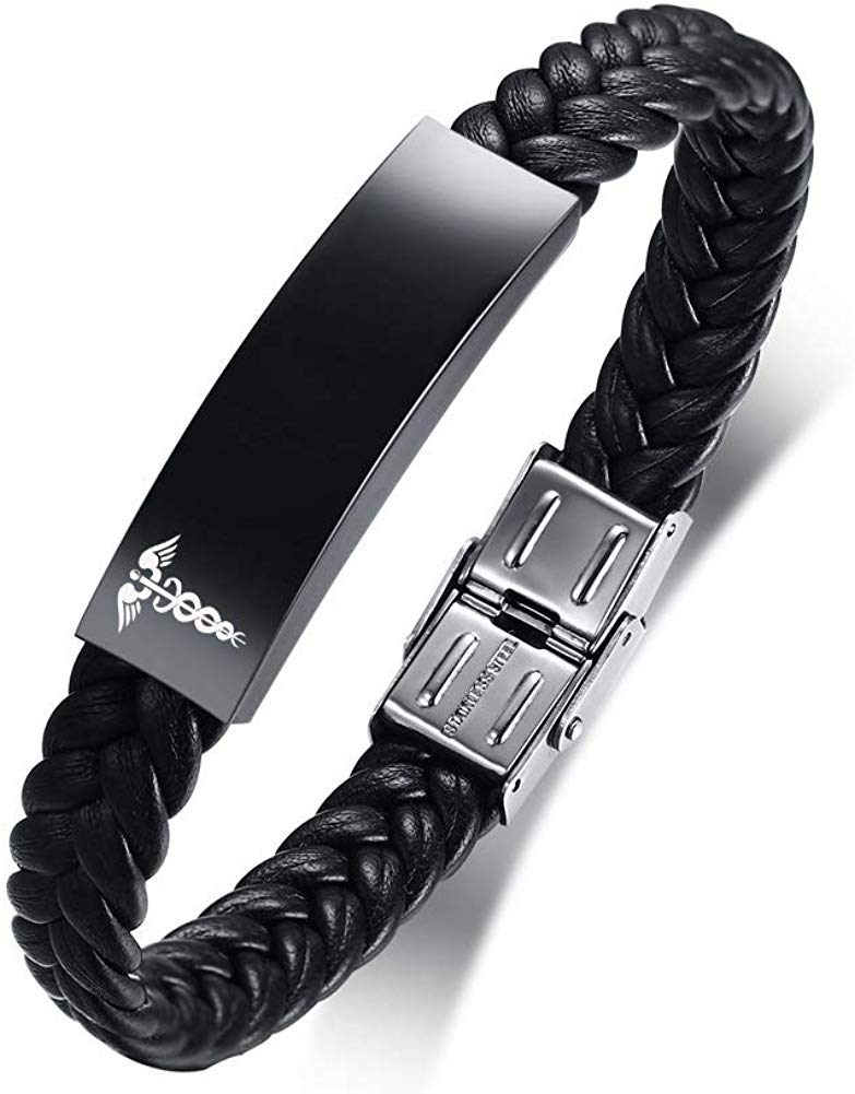 Personalized Customize Stainless Steel Leather Medical Alert Bracelet