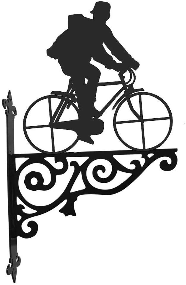 Steel Images Bicycle and Rider Ornamental Hanging Bracket