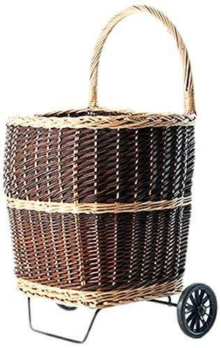 Kamino-Flam Peeled Willow Firewood Trolley with Jute Lining