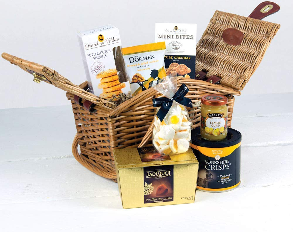 Willow gift basket filled with delicious food
