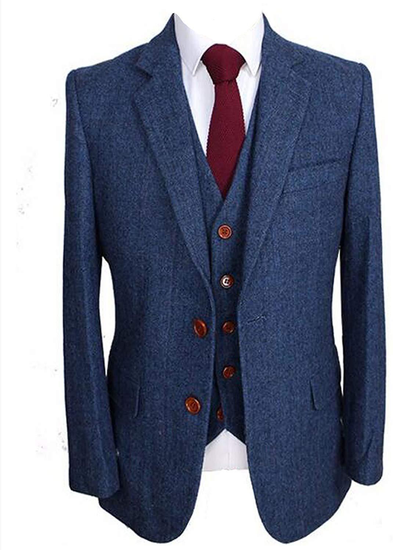 13th wedding anniversary gift for husband-Men's Slim Fit Notched Lapel Suit Blazer Jacket Tux Vest & Trousers 3-Piece Suit Set