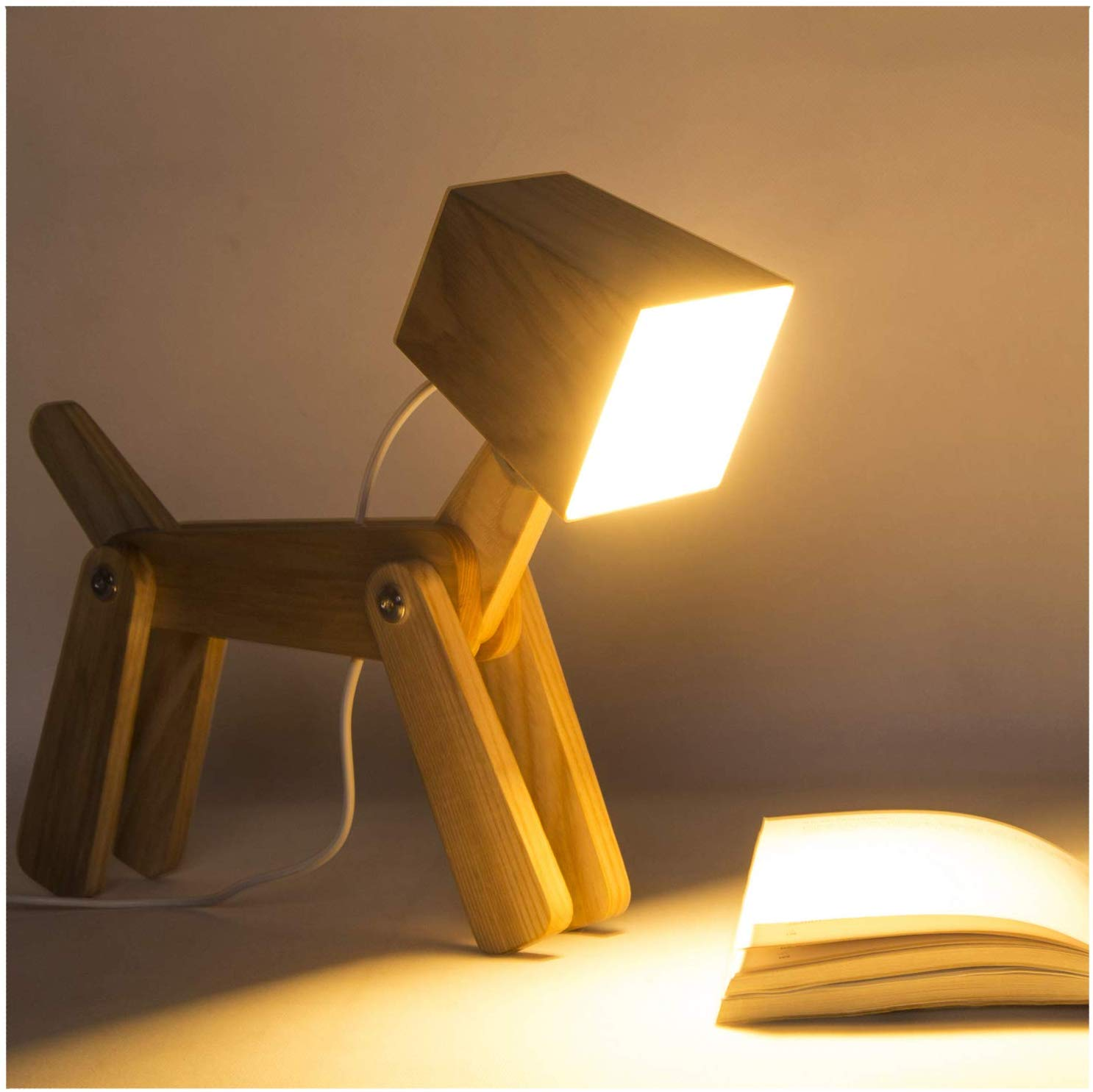 Cute Wooden Dog Design Adjustable Dimmable Bedside Table Lamp