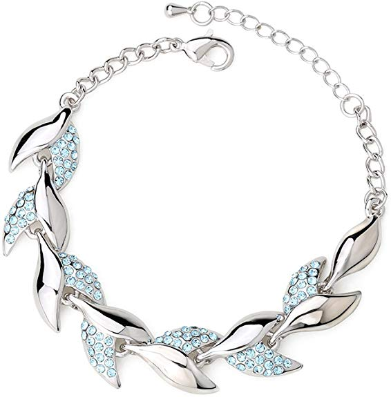 Winter's Secret Beauty Crystal Willow Leaves Diamond Accented Link Silver Girls Charming Bracelet