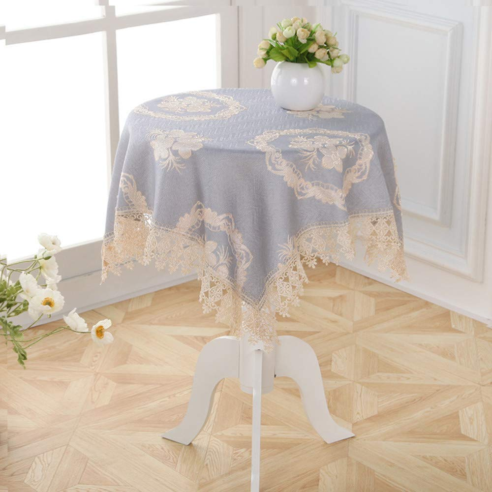 Small Round Floral Lace Tablecloth with Napkins Thick Rectangular