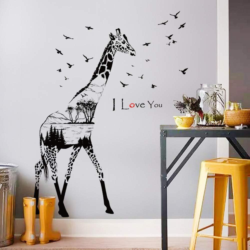 Gaddrt Wall Sticker Silhouette Giraffe Art Room Haunted Decal Decor