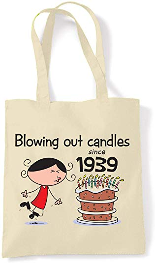 Blowing Out Candles Since 1939 Women's 80th Birthday Tote Shoulder Bag