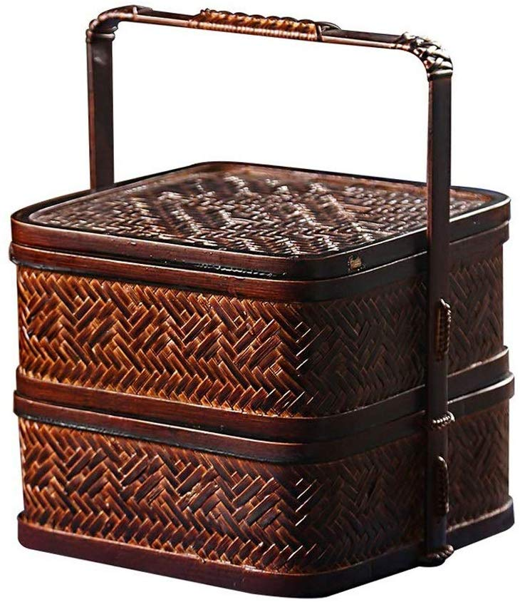 Wicker Picnic Basket for 2 Persons with Cutlery Service Set