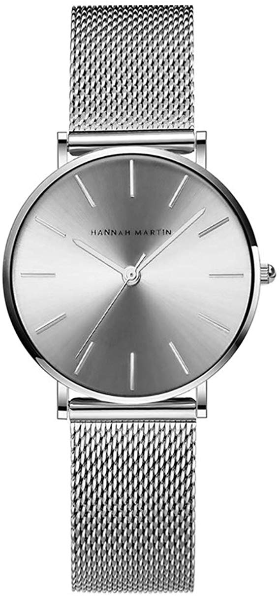 Hannah Martin Ultra Thin Stainless Steel Mesh Band Waterproof Quartz Women's Wrist Watch