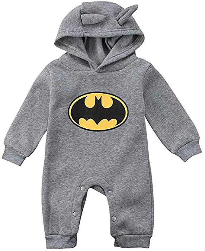 Boys Long Sleeve Button Up Cartoon Bat Romper One Piece Sleepwear