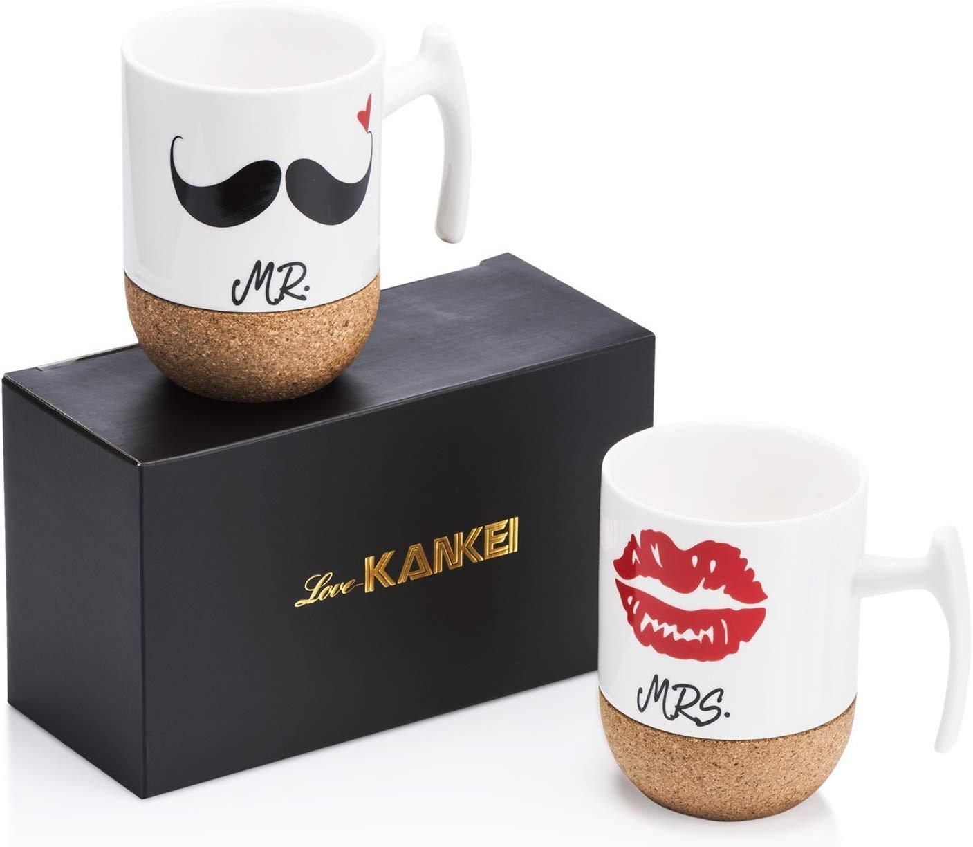 Mr and Mrs Ceramic Mugs - unique 25th anniversary gift ideas