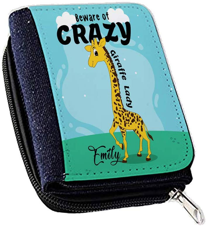 Personalised Beware of Crazy Giraffe Lady Themed Women's Denim Coin Wallet