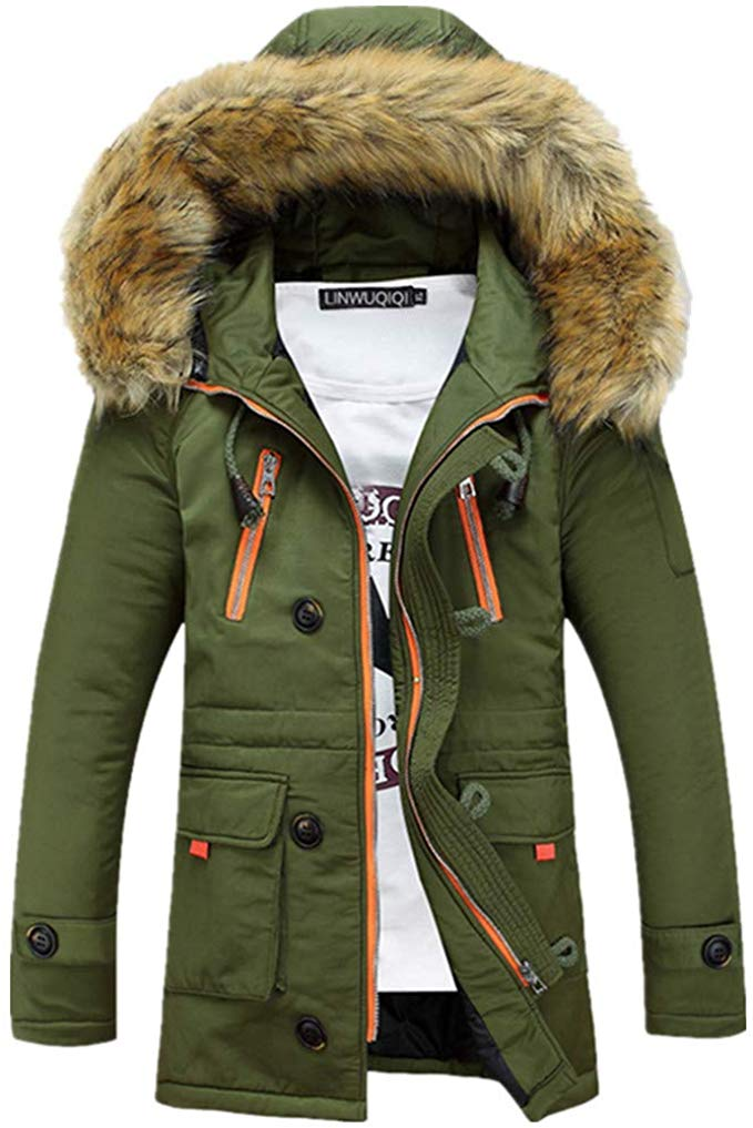 Men Faux Fur Hooded Cotton Padded Outerwear and Coats