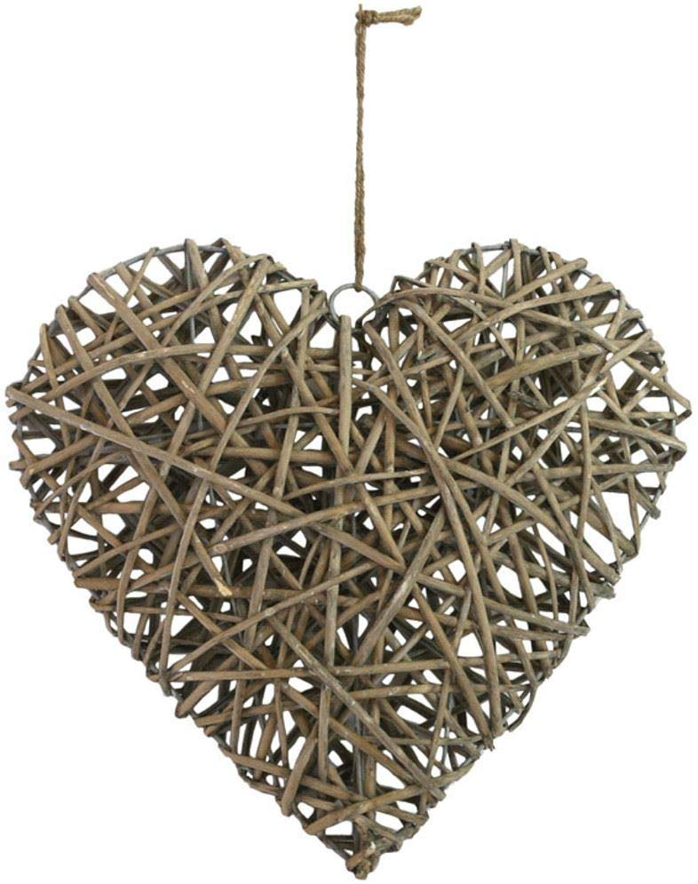 Gift Company Woven Willow Heart - Grey Washed