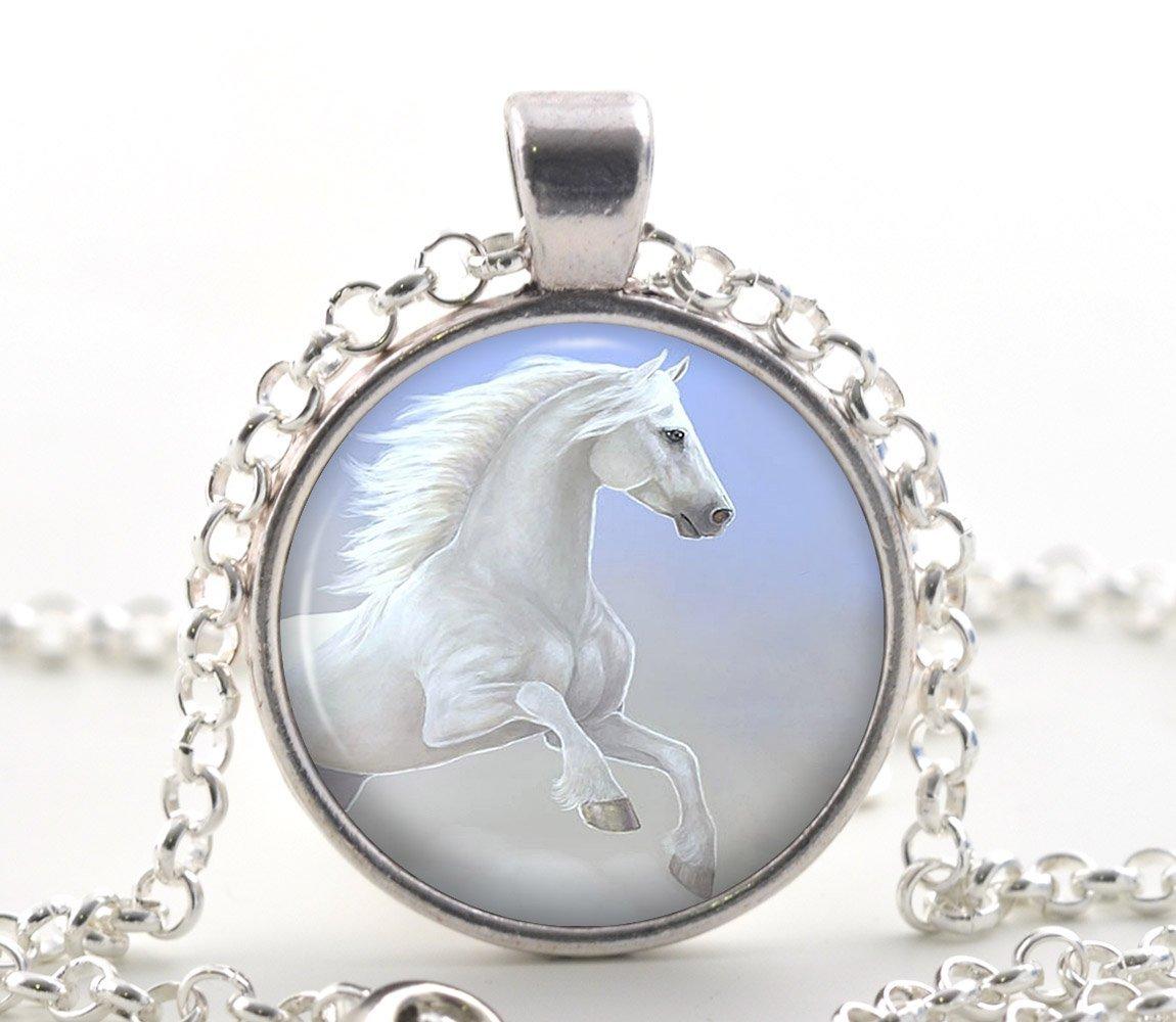 White Horse Necklace Pendant