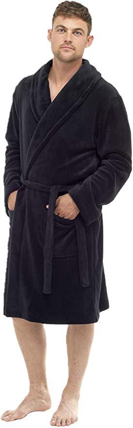 Mens Soft Comfy Fleece Dressing Gown Robe Nightwear