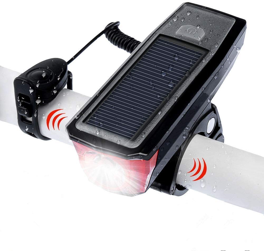 Bike Headlight, Solar Powered Smart USB Rechargeable 4 Mode Bicycle Front Light with Bike Bell