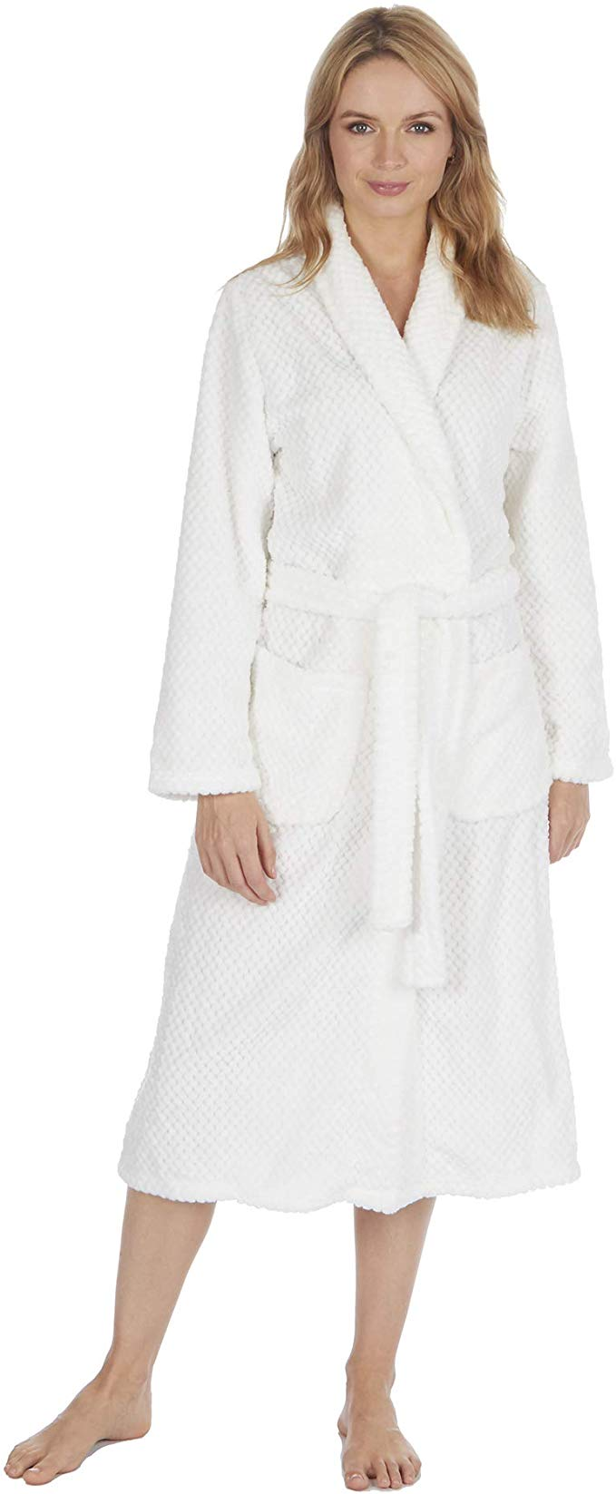 Ladies Womens Baby Pink Soft Fleece Dressing Gown Robe