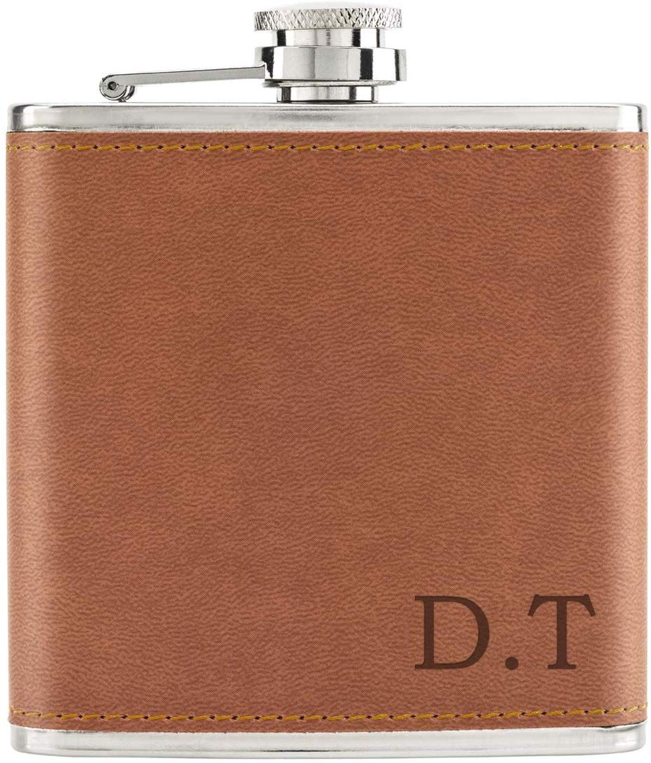 PU Leather Hip Flask Tan