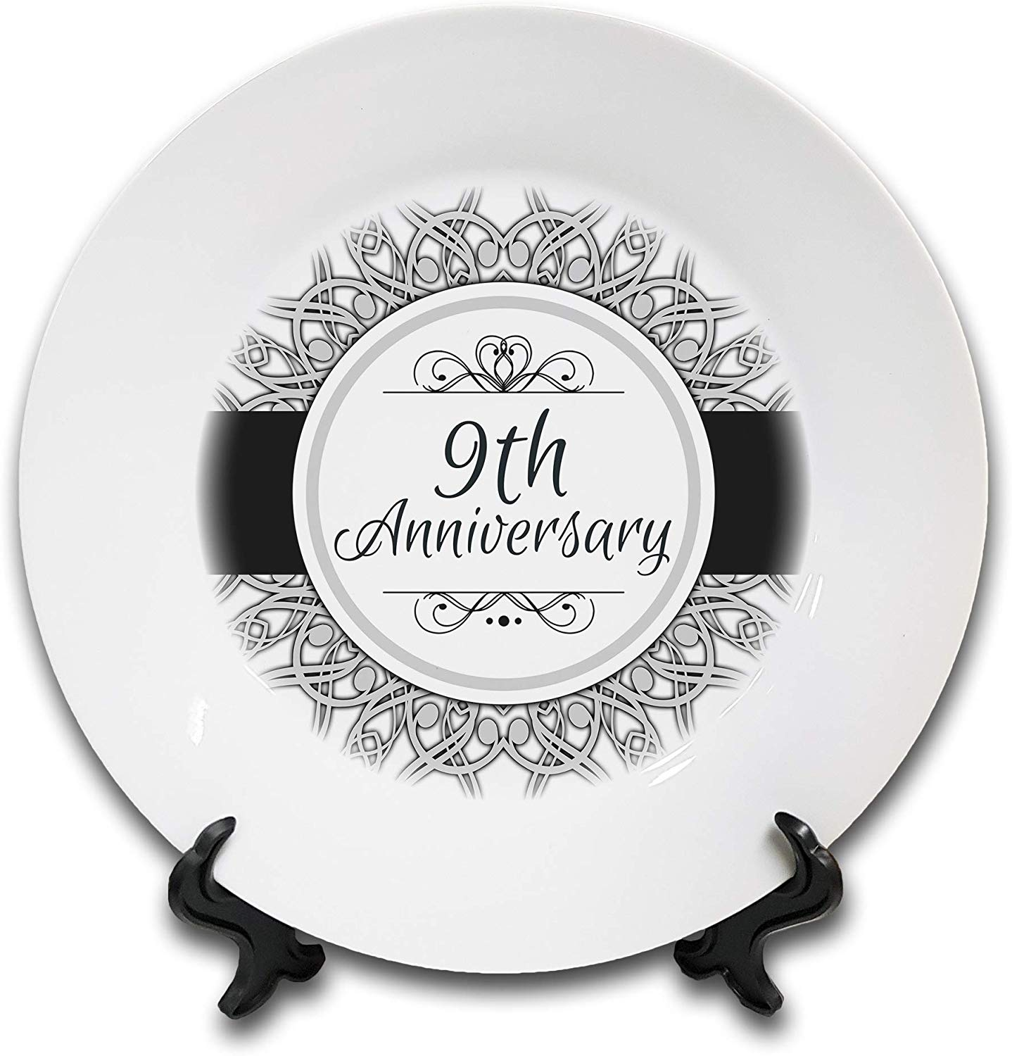 9th Anniversary (Pottery) Novelty Gift Ceramic Plate & Stand