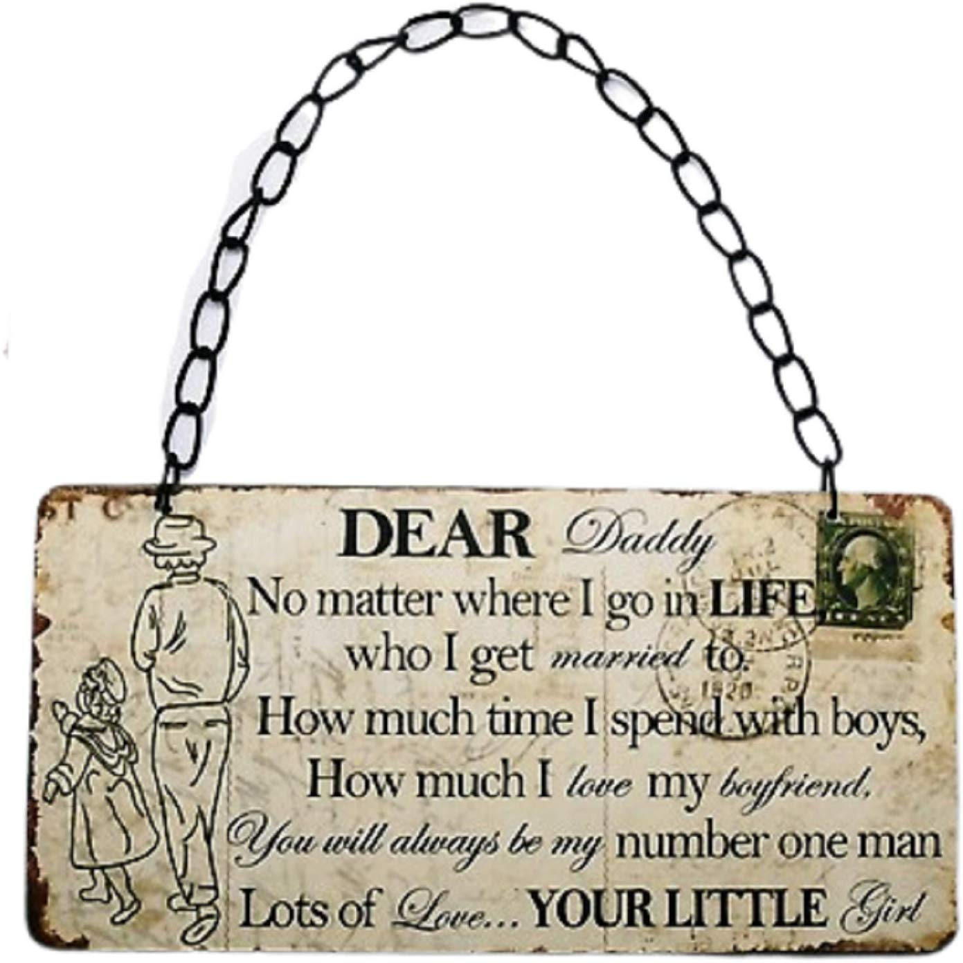Buy Dear Daddy Wooden Vintage postcard sentiment plaque @ www.gifthome.co.uk