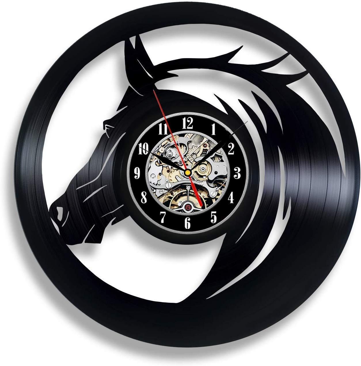 Black Horse Vinyl Wall Clock Galloping Racing Horse Ornaments