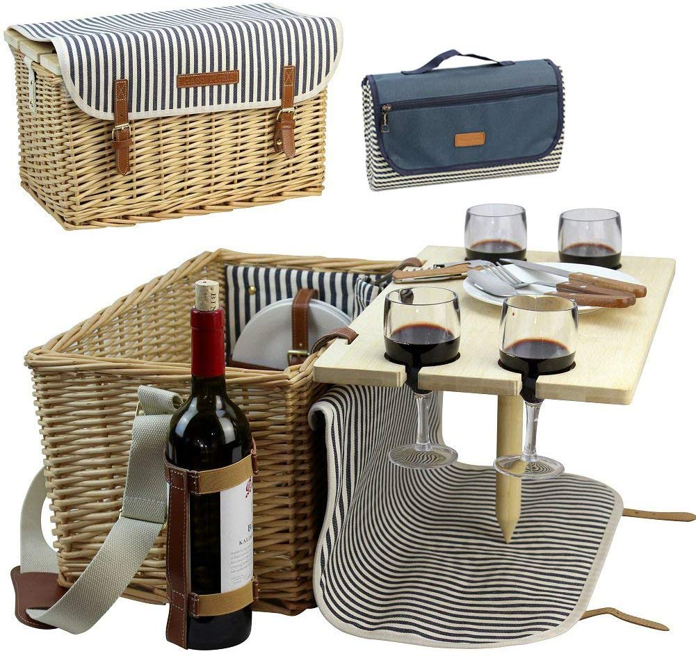 Wicker Picnic Basket for 4, 4 Person Picnic Kit