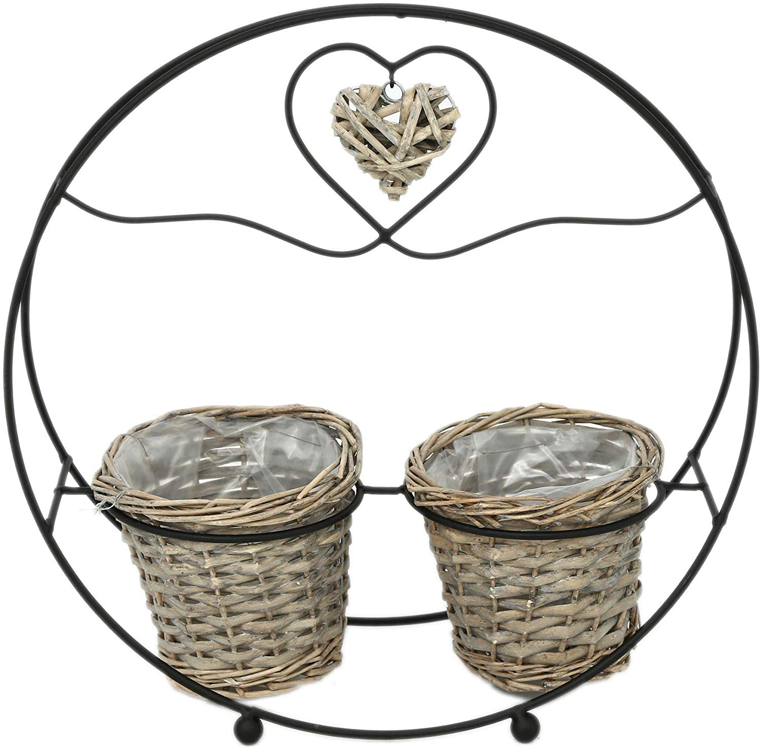Carousel Home and Gifts Black Metal Round Willow Twin Plant Pot Stand Garden Planters