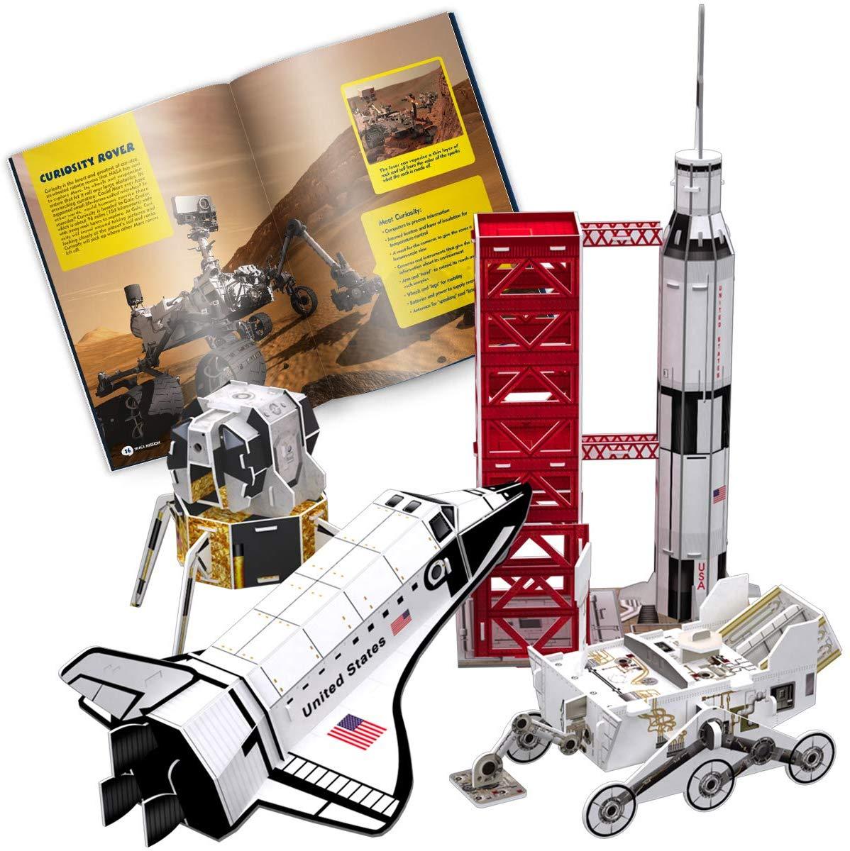 CubicFun National Geographic Kids 3D Puzzle Space Rocket Ship Model Kit Adventure