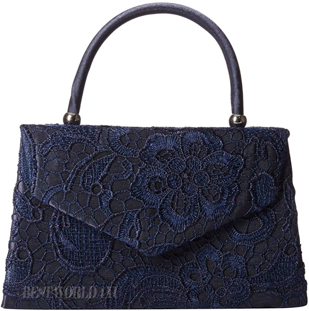 Women's Satin Floral Lace Clutch Bag