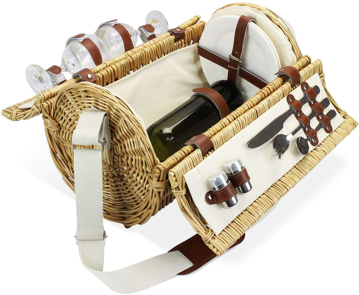 Home Innovation 2 Person Wicker Picnic Basket Set with Straps
