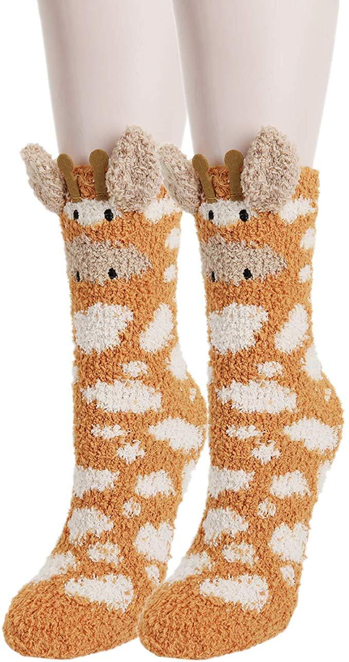 Women Fuzzy Slipper Novelty Funny Cute 3D Cartoon Giraffe Soft Warm Socks