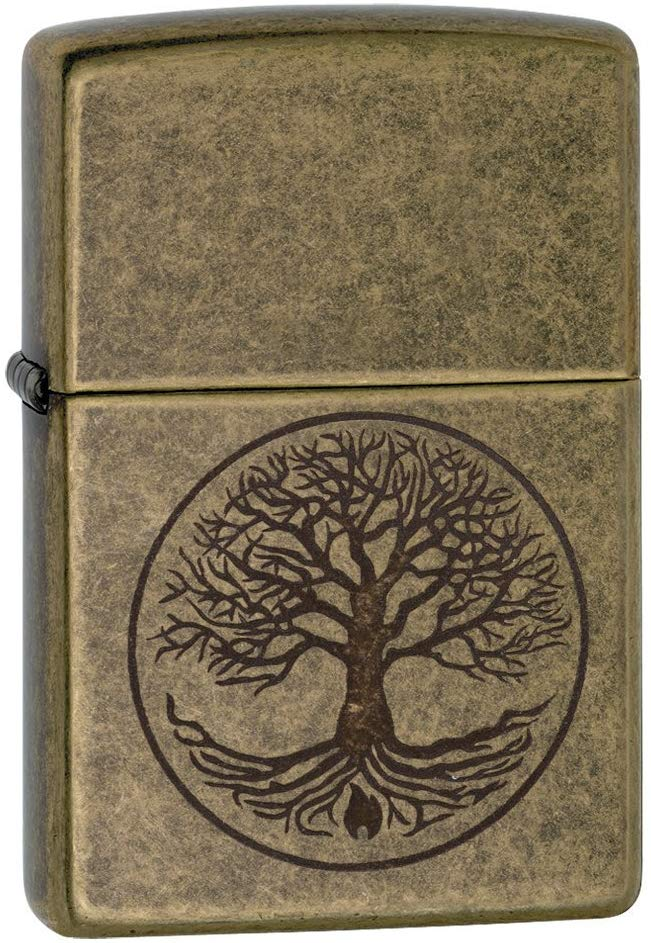 Zippo Tree of Life Regular Lighter - Antique Brass