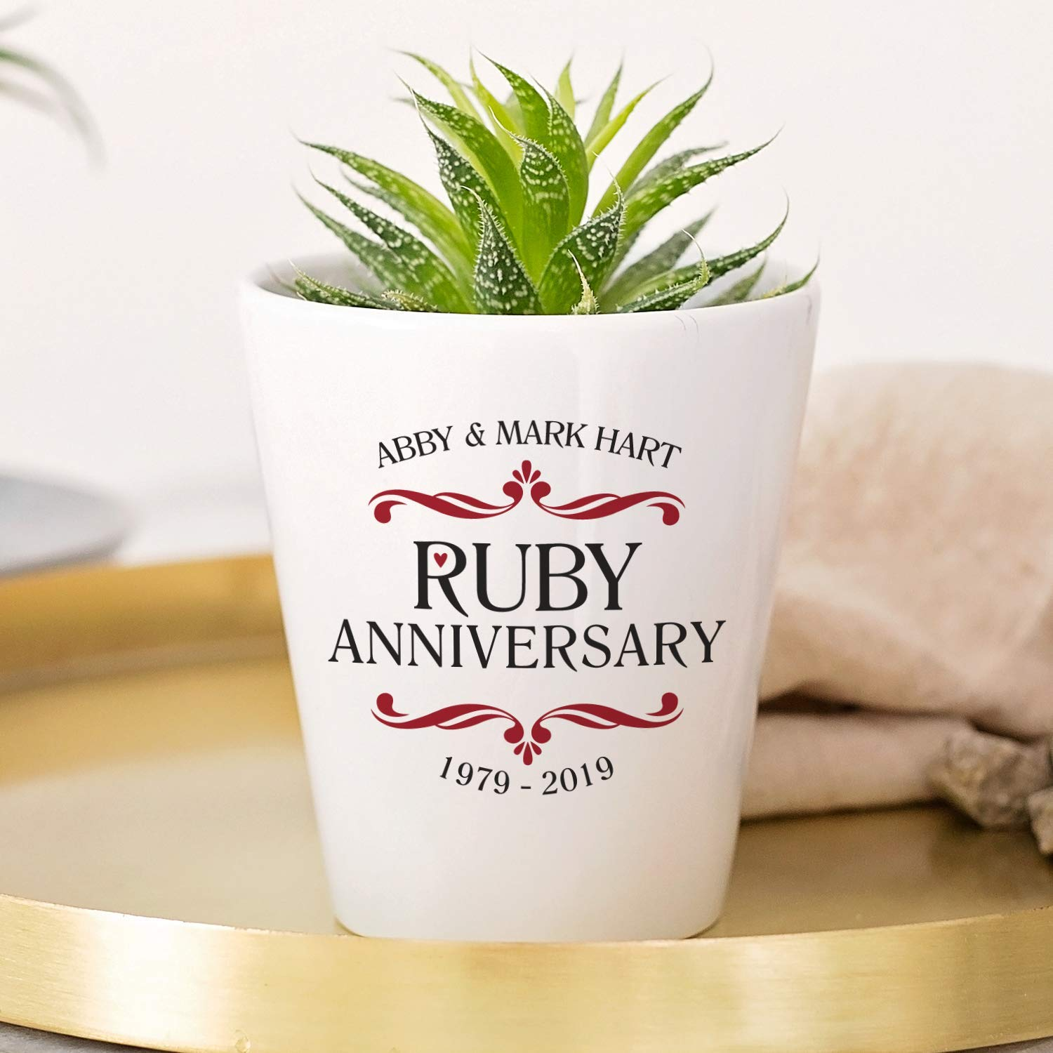 Personalised Ruby Wedding Anniversary Plant Pot