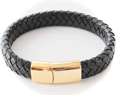 Bluerock Bay Milan Personalised Black Leather and Gold Mens Bracelet