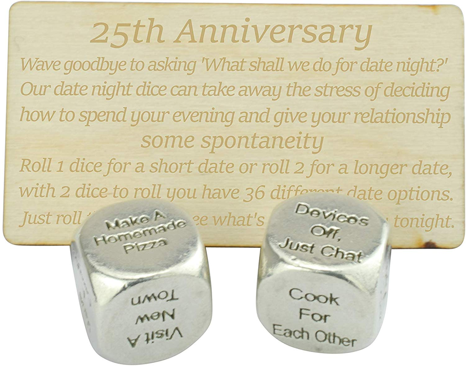 25 Year Anniversary Metal Date Night Dice - Silver Wedding Anniversary Gifts