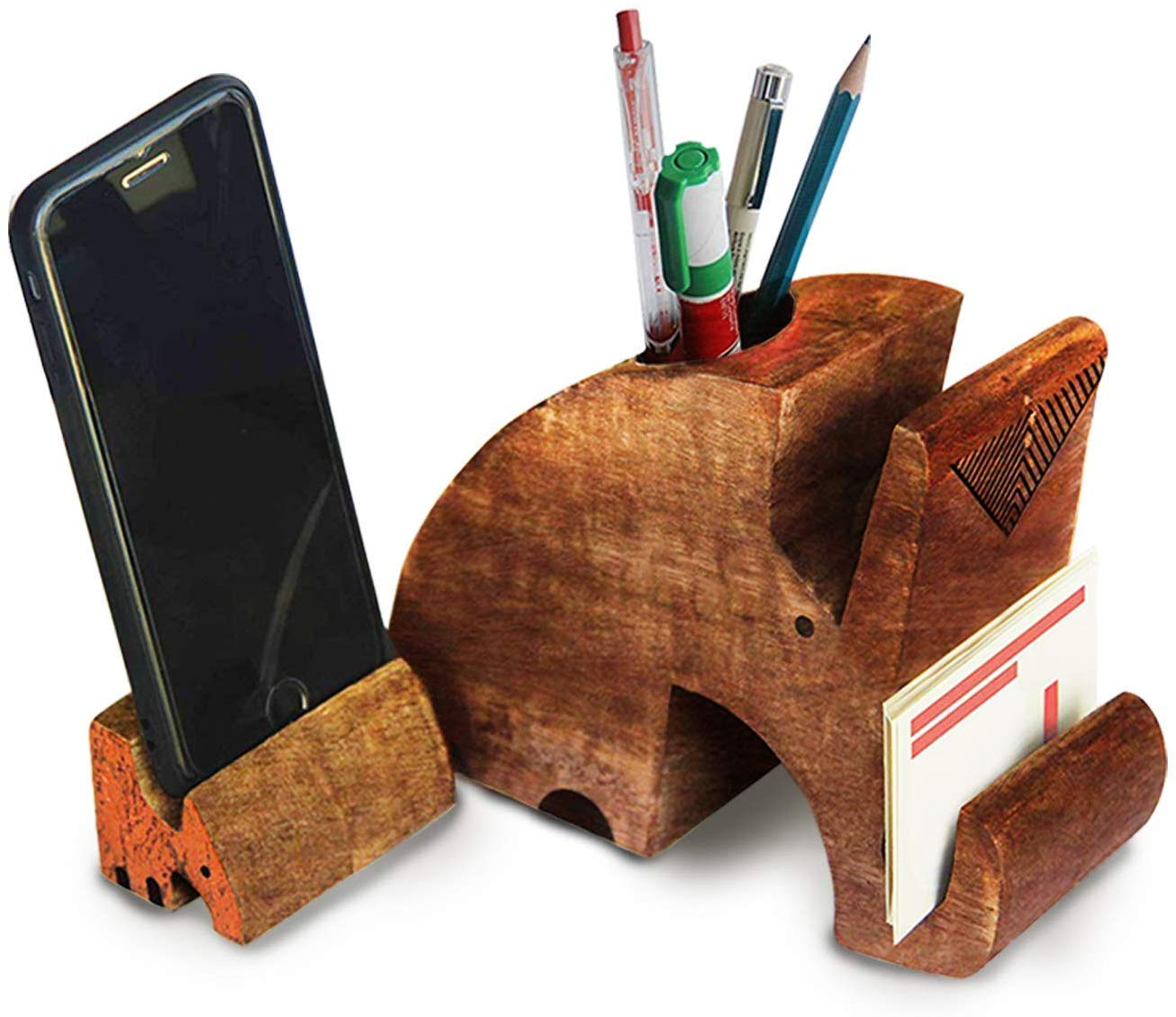 Glasses Holder Eyeglass Spectacle with Cute Elephant Wooden Display Stand