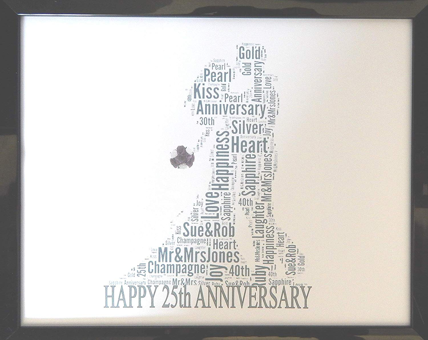New Personalised Anniversary Word Art - 25th anniversary gifts for couples