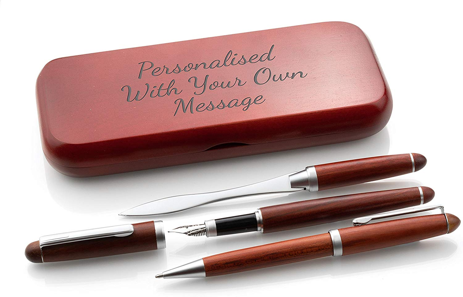 Personalised Wooden Triple Pen Set Ballpoint