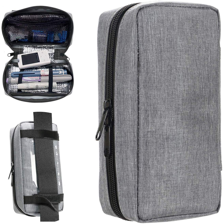 Portable Insulin Travel Case - Medication Diabetic Supplies Organizer Medical Bag