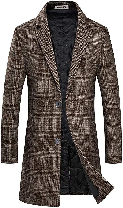 BOJIN Coat Mens Winter Long Warm Slim Fit Wool Blend Trench Coat