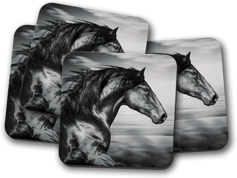4 Set - Beautiful Black Horse Coaster