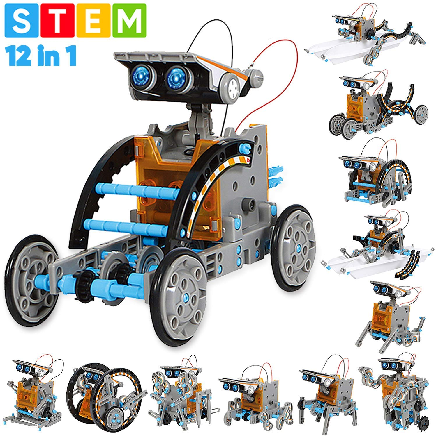 12-in-1 Education Solar Robot Toys-190 Pieces DIY Building Science Experiment Kit