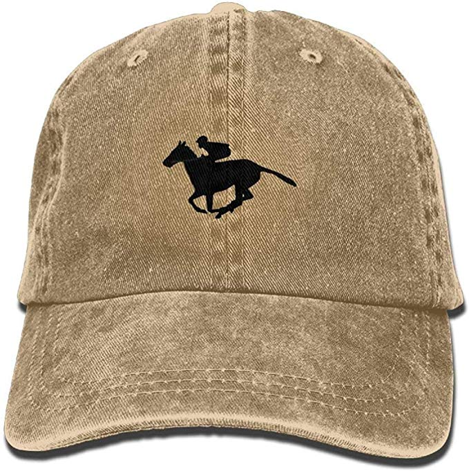 Vintage Style Horse Racing Silhouette Adjustable Baseball Cap Dad Hat Natural