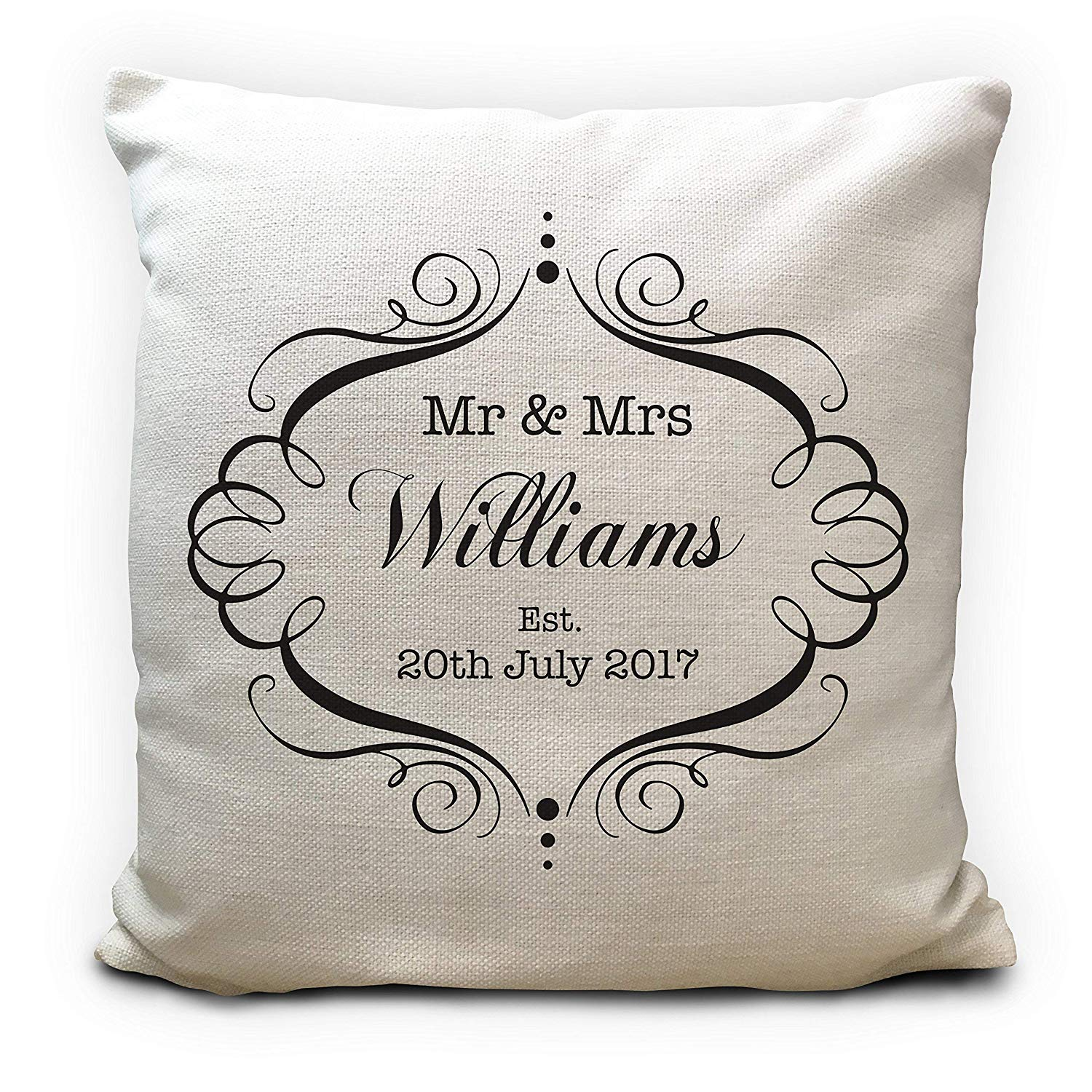 Mr and Mrs Personalised Wedding Cushion Cover